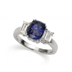 18k White Gold Cushion cut Sapphire and 1.01ct Total Diamond Ring